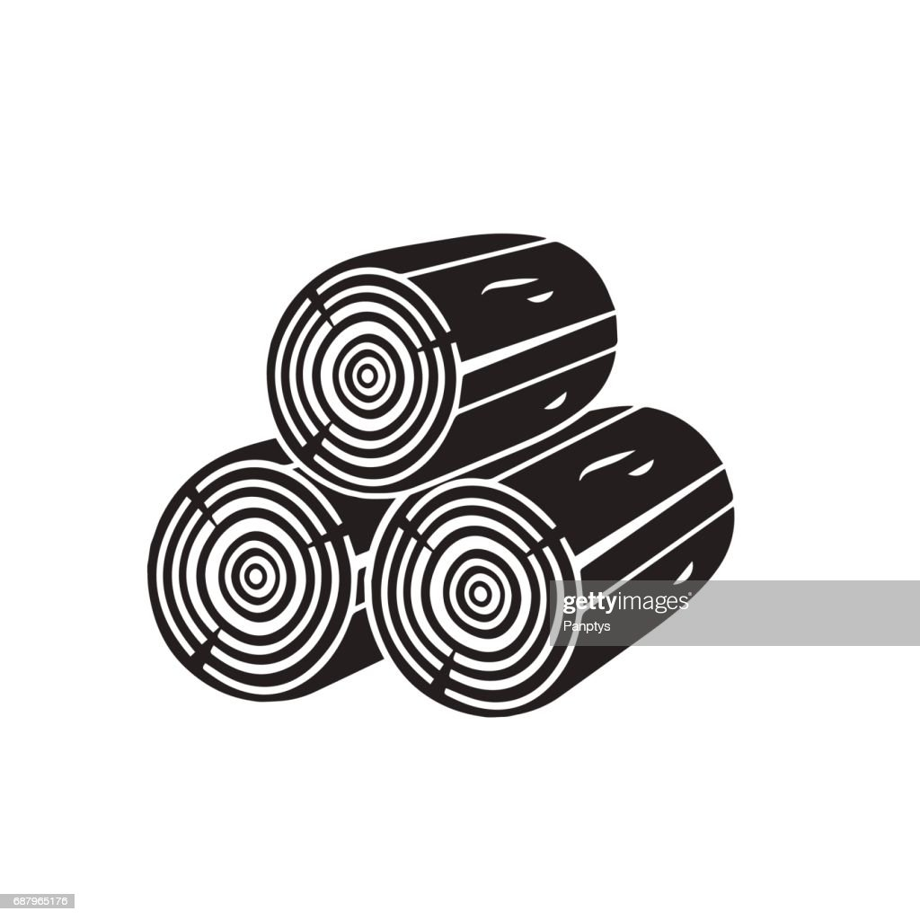 Wood icon isolated on white background. Vector art.