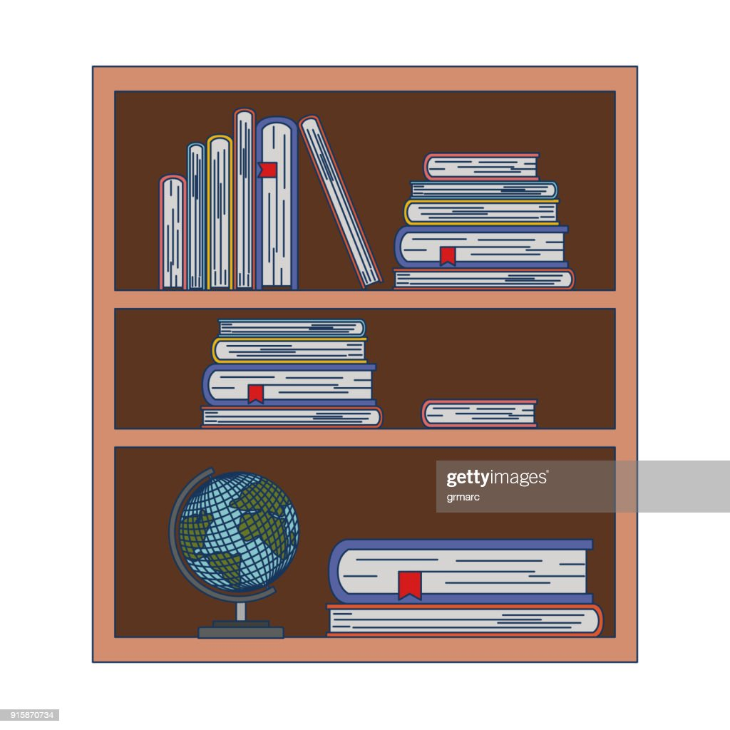 wood library with stack books and world map on white background
