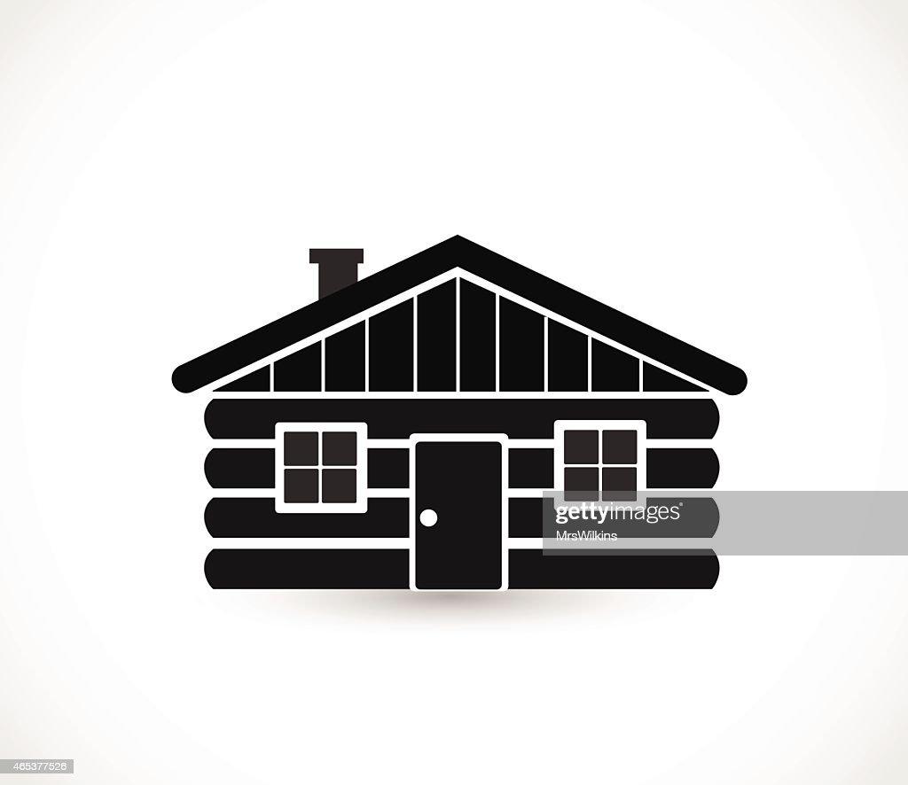 Wood log house icon vector illustration