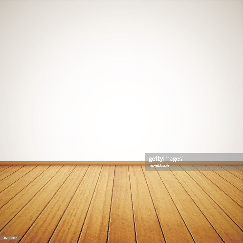 Wood panel floor in maple tone with white wall background