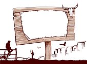 Wood sign background for text.Cowboy ranch.
