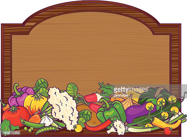 Wood sign with vegetables