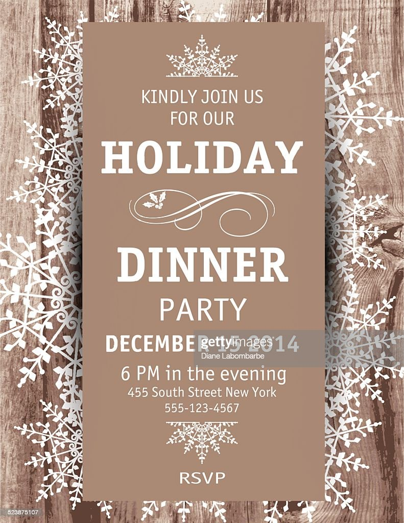 Wood Snowflake Christmas Dinner Invitation Template