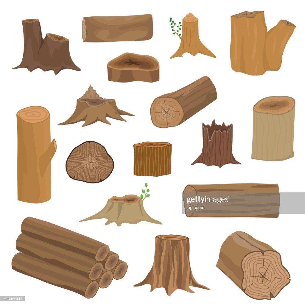 Wood stumps vector set.