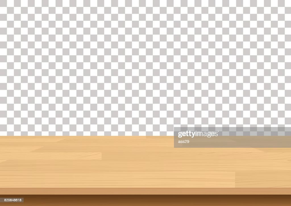 Wood table top on isolated background. Vector illustration