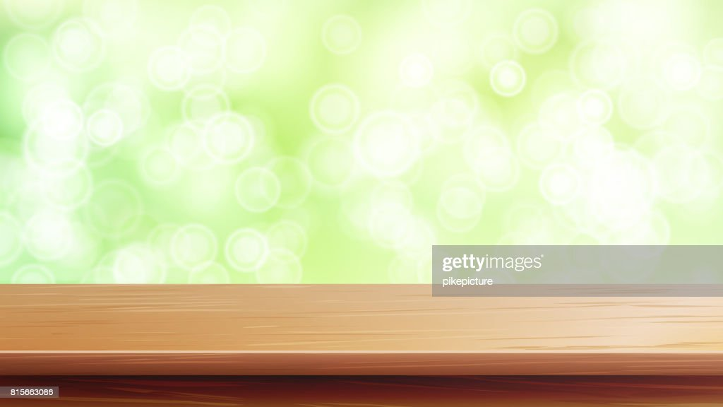 Wood Table Top Vector. Abstract Morning Sunlight. Close Up Top Wooden Table. Abstract Lights On Gold Bokeh Blurred Background. For Product Montage Display