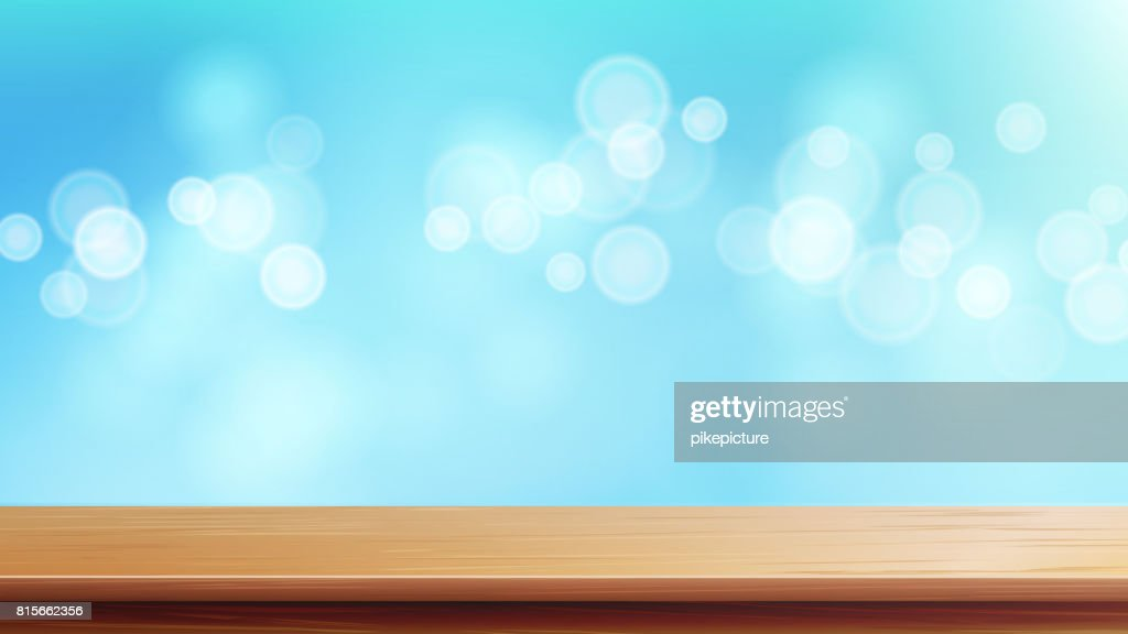 Wood Table Top Vector. Brown Bokeh Abstract Natural Background. Close Up Top Wooden Table. Decoration Of Desk And Gold Space