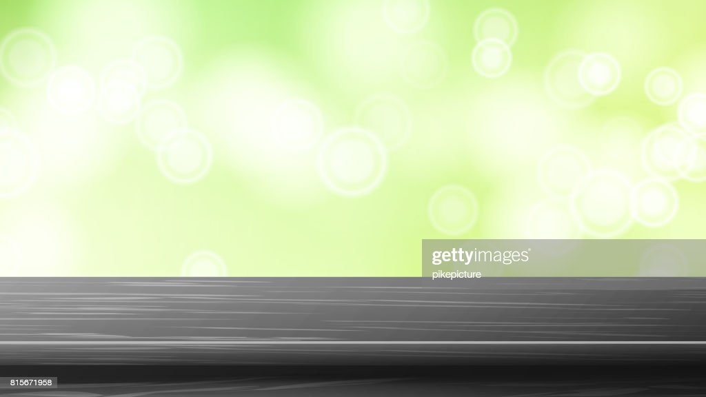Wood Table Top Vector. Green Bokeh Background. Bokeh Background With Vintage Filter. Good For Display, Montage Your Products