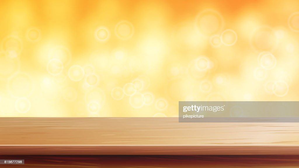 Wood Table Top Vector. Orange, Autumn, Yellow Bokeh Background. Empty Wooden Deck Table. Abstract Lights On Gold Bokeh Blurred Background. For Advertising Your Product On Display