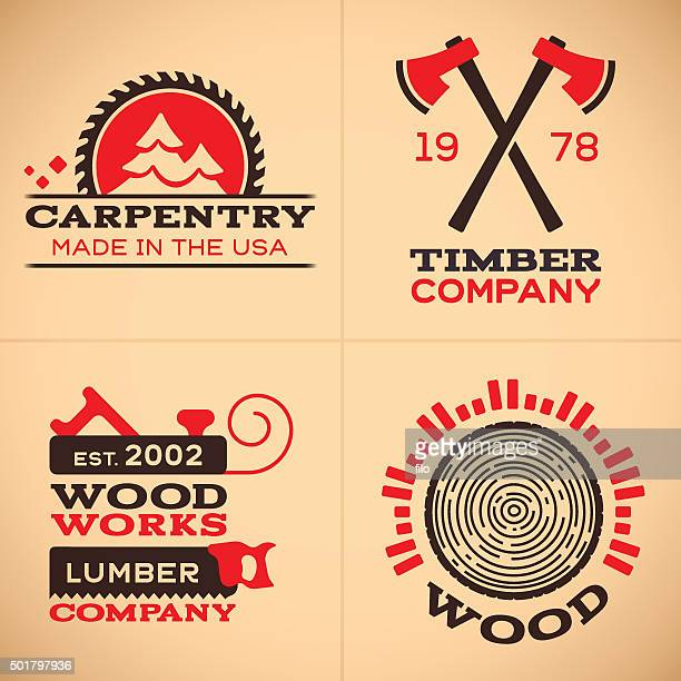 wood working and carpentry symbols and icons - carpentry stock illustrations