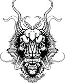 Woodblock style dragon