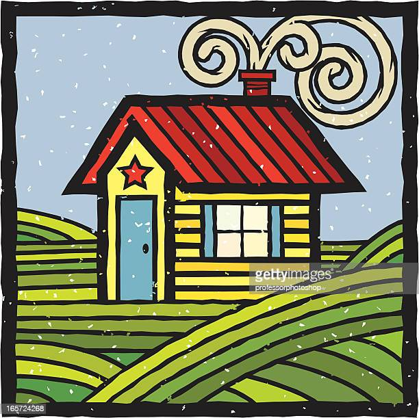 woodcut cabin - prairie stock illustrations, clip art, cartoons, & icons