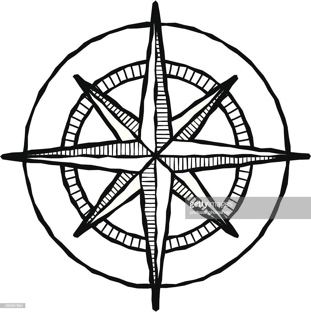 Woodcut compass rose : stock illustration