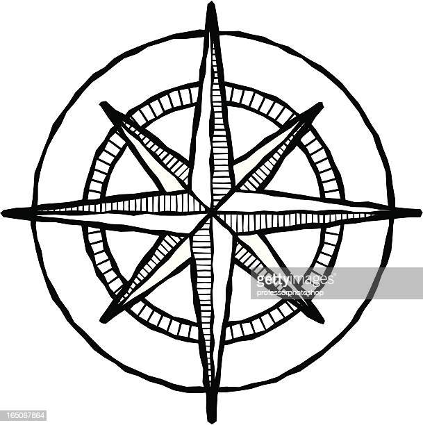 Woodcut compass rose