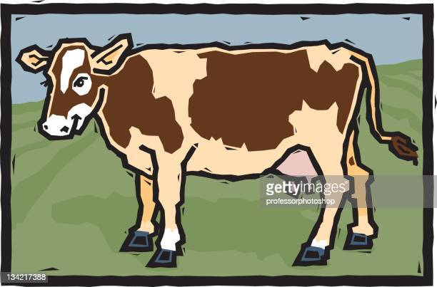 woodcut cow - milking stock illustrations, clip art, cartoons, & icons