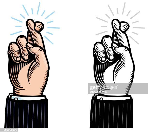 Woodcut crossed fingers illustration