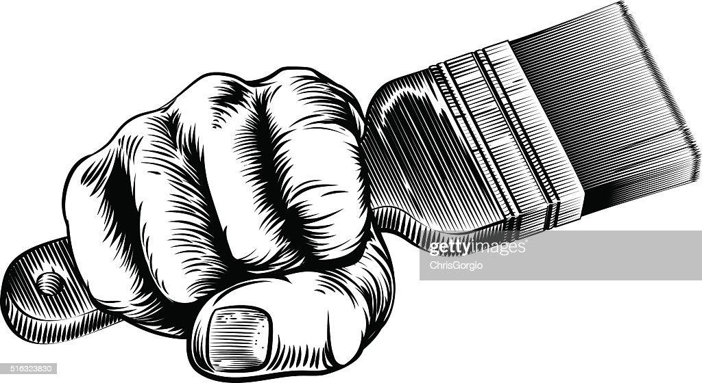 Woodcut Fist Hand Holding Paintbrush