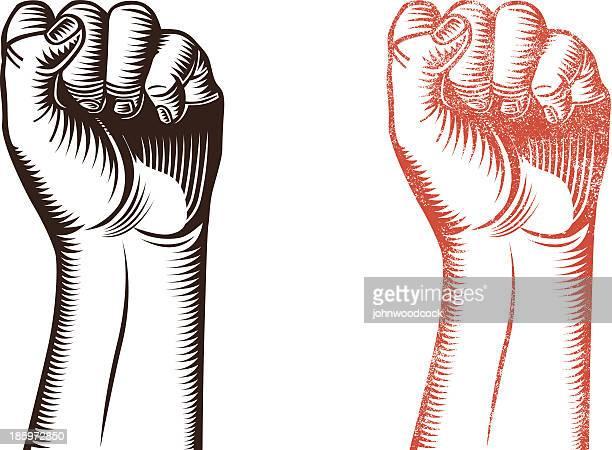 woodcut fist - punching stock illustrations