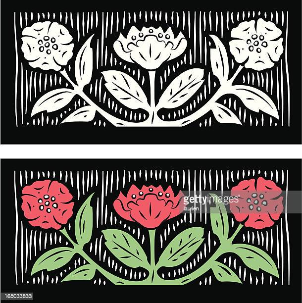Woodcut Flowers