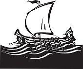 Woodcut Greek Galley Sea