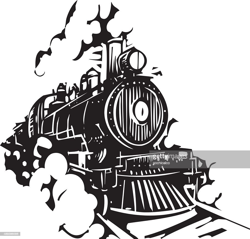 Woodcut Locomotive