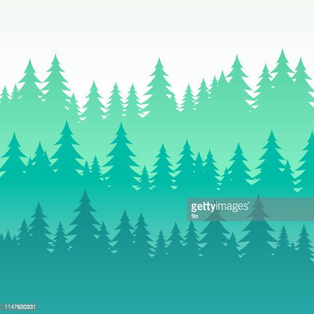 wooded pine tree layered background - forest stock illustrations