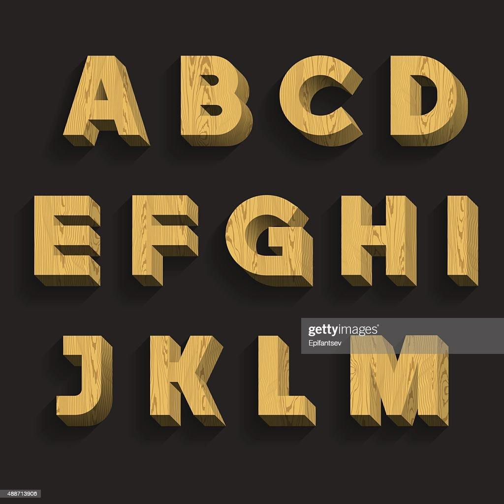 Wooden Alphabet. Part 1 of 3. Letters A - M.