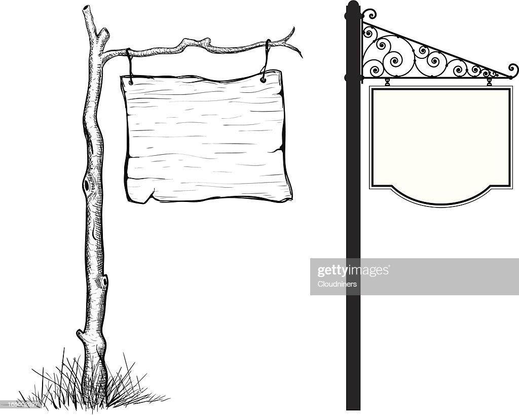 Wooden and Metal Signs : stock illustration
