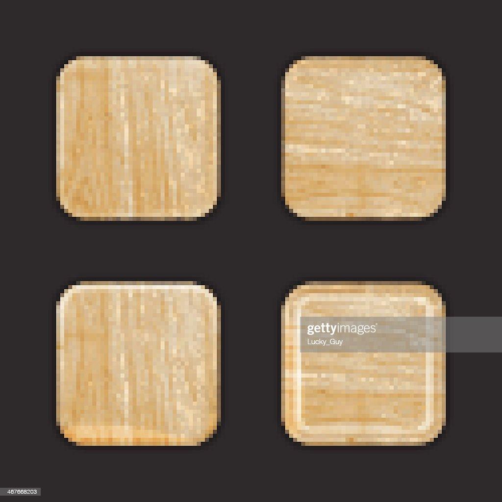Wooden App Icon Template Set. Vector