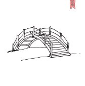 wooden arch bridge, vector illustration.