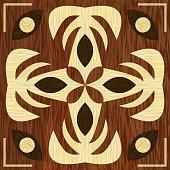 Wooden art decoration template.. Wooden inlay, light and dark wood patterns. Veneer textured geometric ornament.