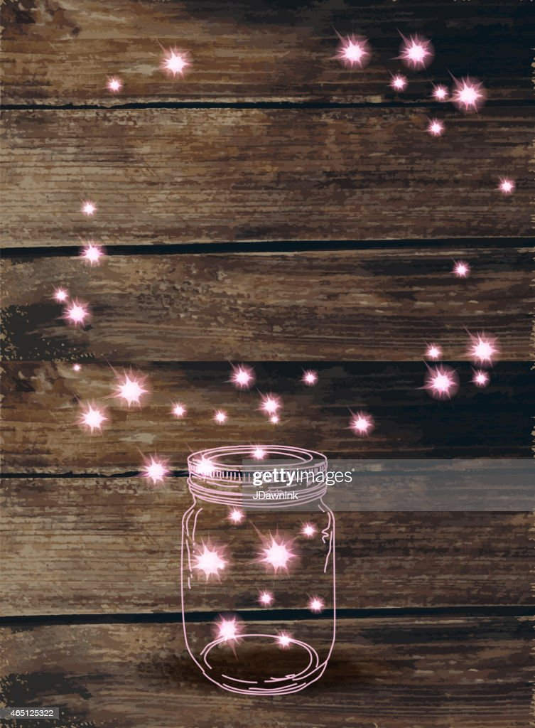 Wooden background with canning jar and pink sparkles : stock illustration