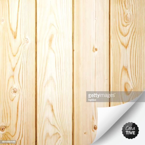 wooden background with curled page - pine wood material stock illustrations, clip art, cartoons, & icons