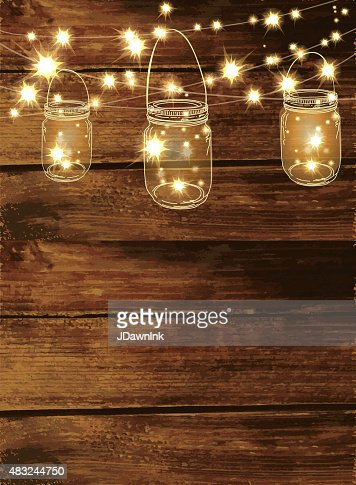 Wooden Background With Jar And String Lights Stock Vector