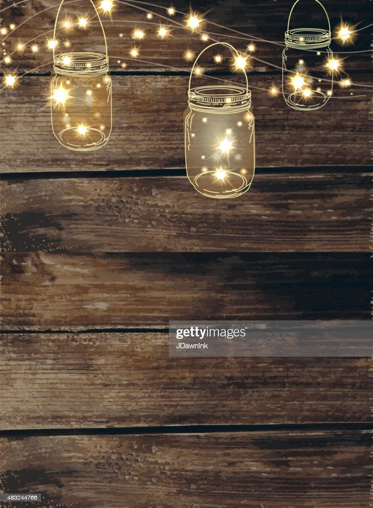 string lights wallpaper wooden background with jar and string lights vector 771