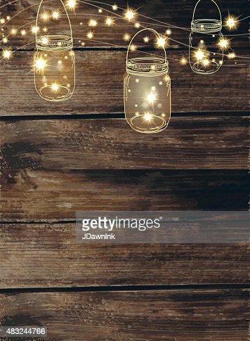 Mason Jar String Lights Background