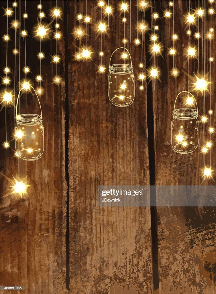Wooden background with  jar and string lights : stock illustration