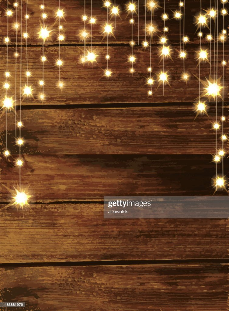 Wooden Background With String Lights Stock Illustration