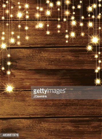 Wooden Background With String Lights Vector Art | Getty Images
