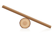 Wooden balance toy. Simple rustic seesaw constructed of a lying tree trunk and a wooden plank - isolated vector illustration on white background.