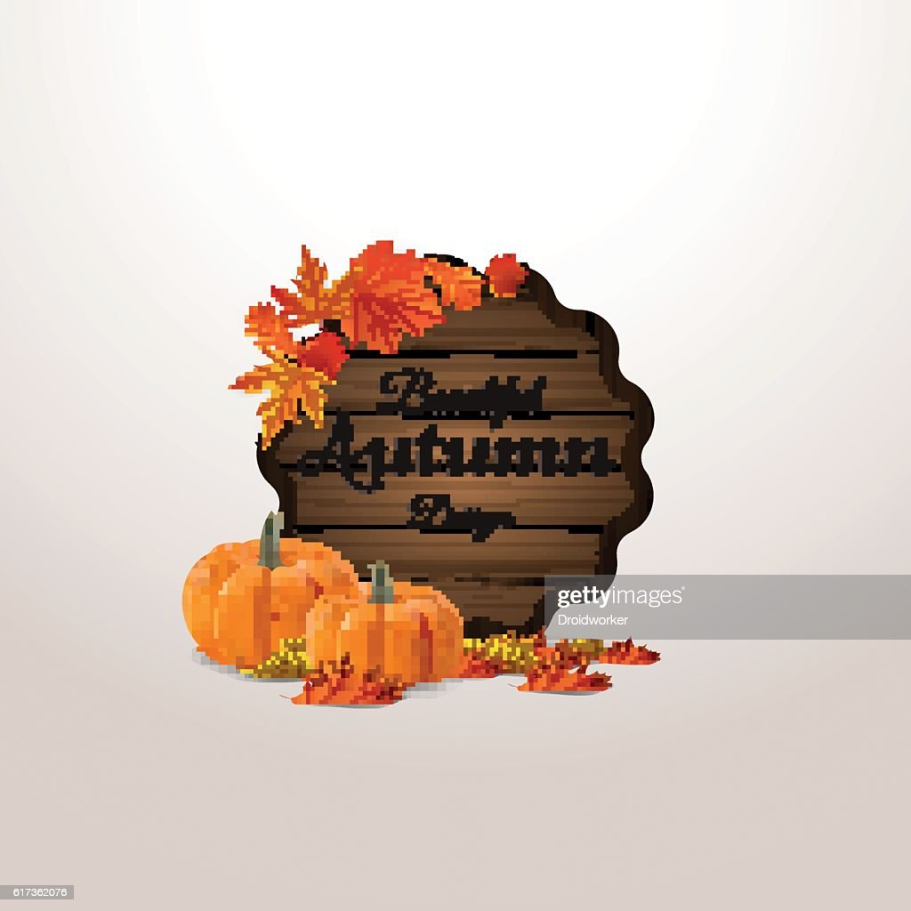Wooden barrel label design with ribbon and autumn leaves