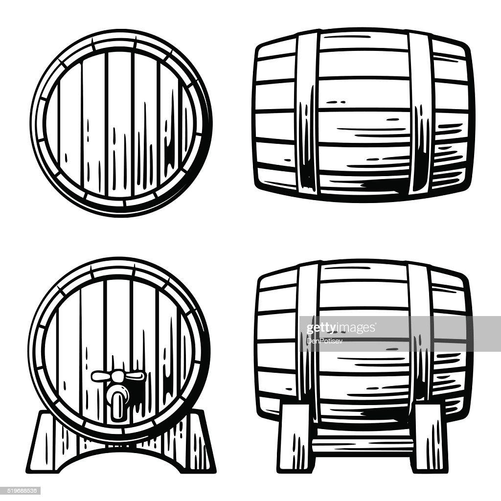 Wooden barrel set engraving vector illustration