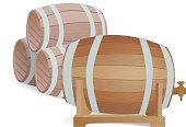 Wooden barrel vector isolated