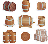 Wooden barrels vector set.