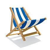 Wooden beach blue striped deck chair isolated on white