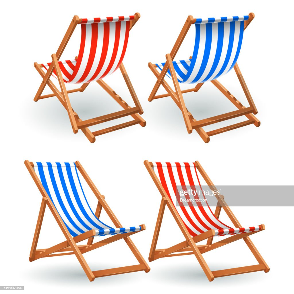 Wooden beach chair set isolated on a white background
