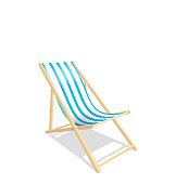 Wooden Beach Chaise Longue Isolated on White Background