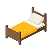 wooden bed for one person in an isometric view