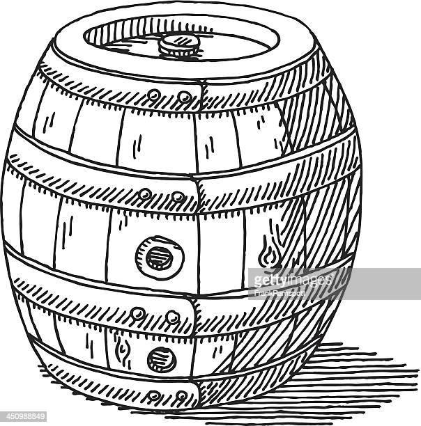 wooden beer barrel drawing - lager stock illustrations, clip art, cartoons, & icons