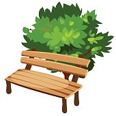Wooden bench and tree, cartoon style